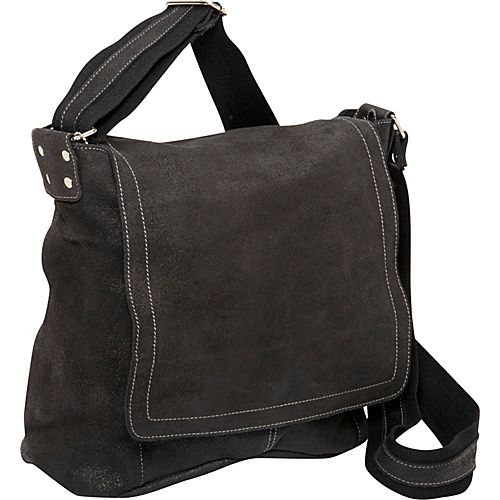 David King & Co. Vertical Simple Distressed Leather Messenger Bag Black - David King & Co. Messenger Bags
