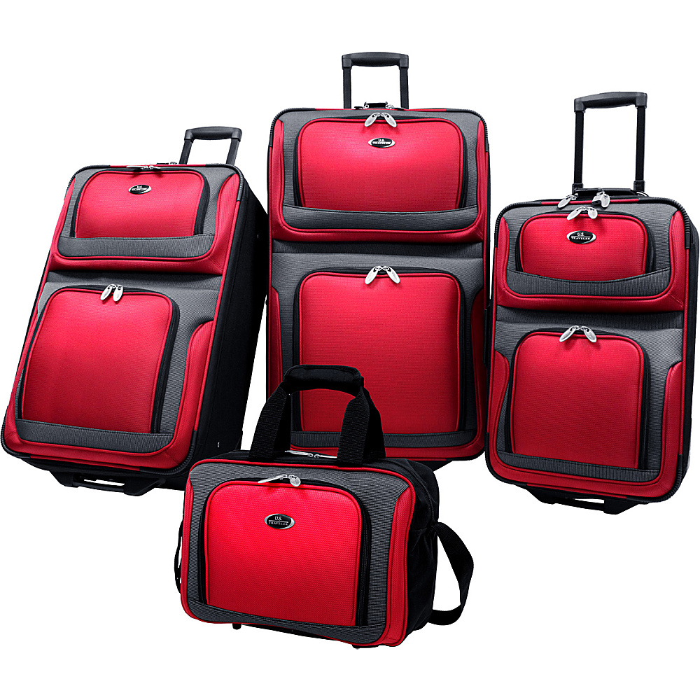 U.S. Traveler New Yorker 4-Piece Luggage Set - Red