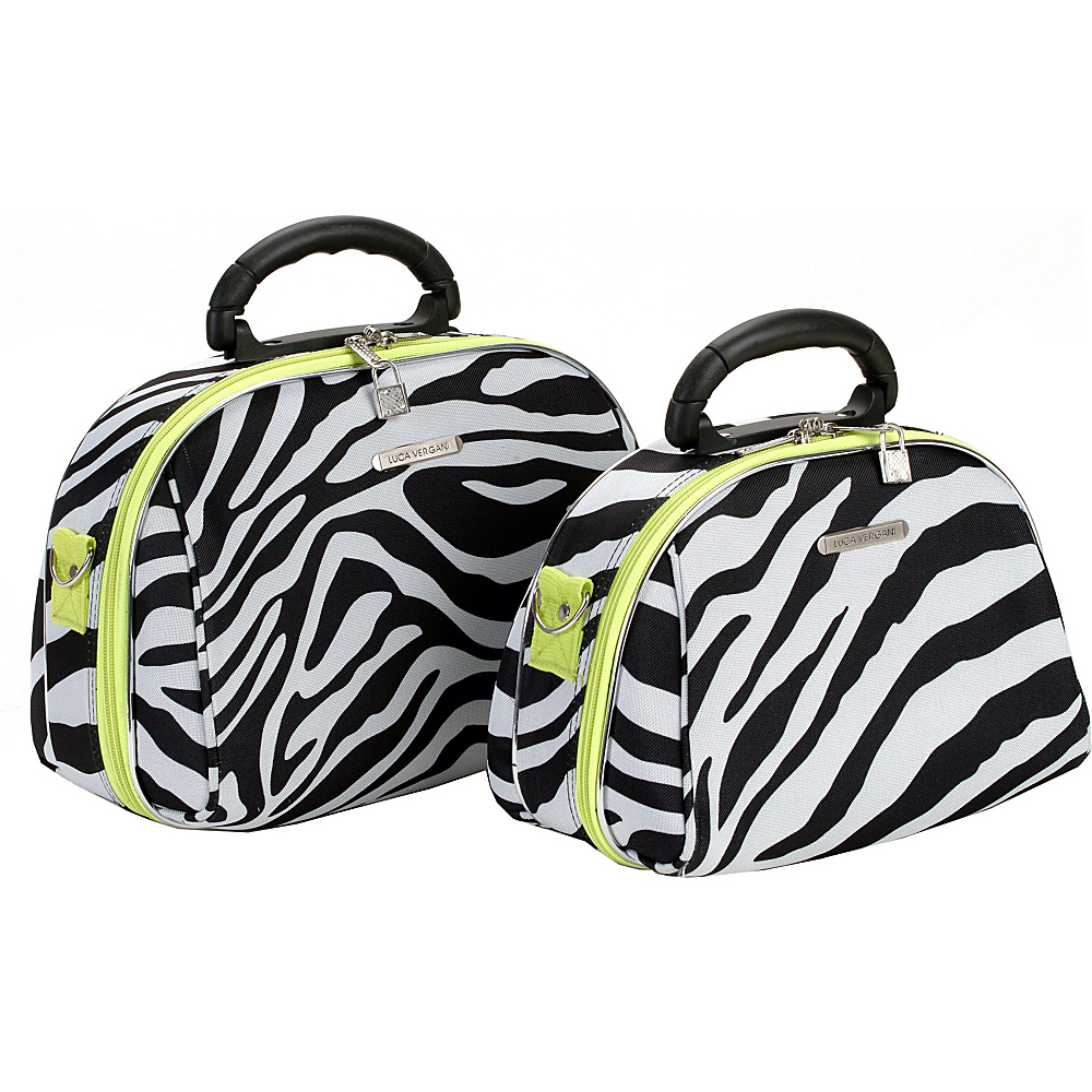 Rockland Luggage 2 Piece Cosmetic Case Set Lime Zebra - Rockland Luggage Toiletry Kits