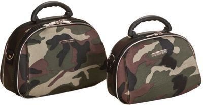 Rockland Luggage 2-Piece Cosmetic Bags Camouflage Green - Rockland Luggage Toiletry Kits