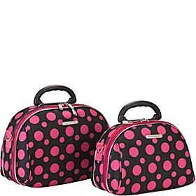 2 Piece Cosmetic Case Set Black & Pink Dots