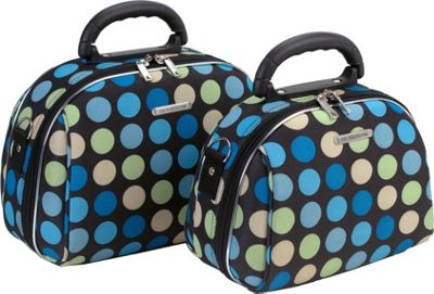 Rockland Luggage 2 Piece Cosmetic Case Set - Blue Dot