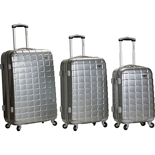 Rockland Luggage 3 Piece Celebrity Hardside Spinner Set Silver - Rockland Luggage Hardside Luggage