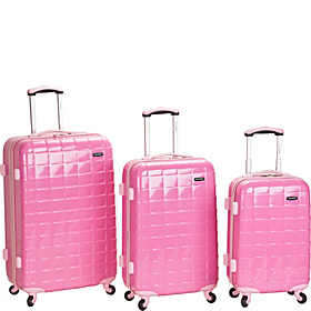 3 Piece Celebrity Hardside Spinner Set Pink