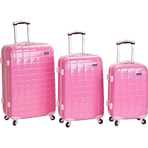 Rockland Luggage 3 Piece Celebrity Hardside Spinner Set Pink - Rockland Luggage Hardside Luggage