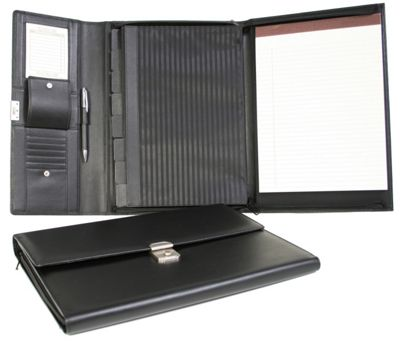 Royce Leather Padfolio File Organizer - Black