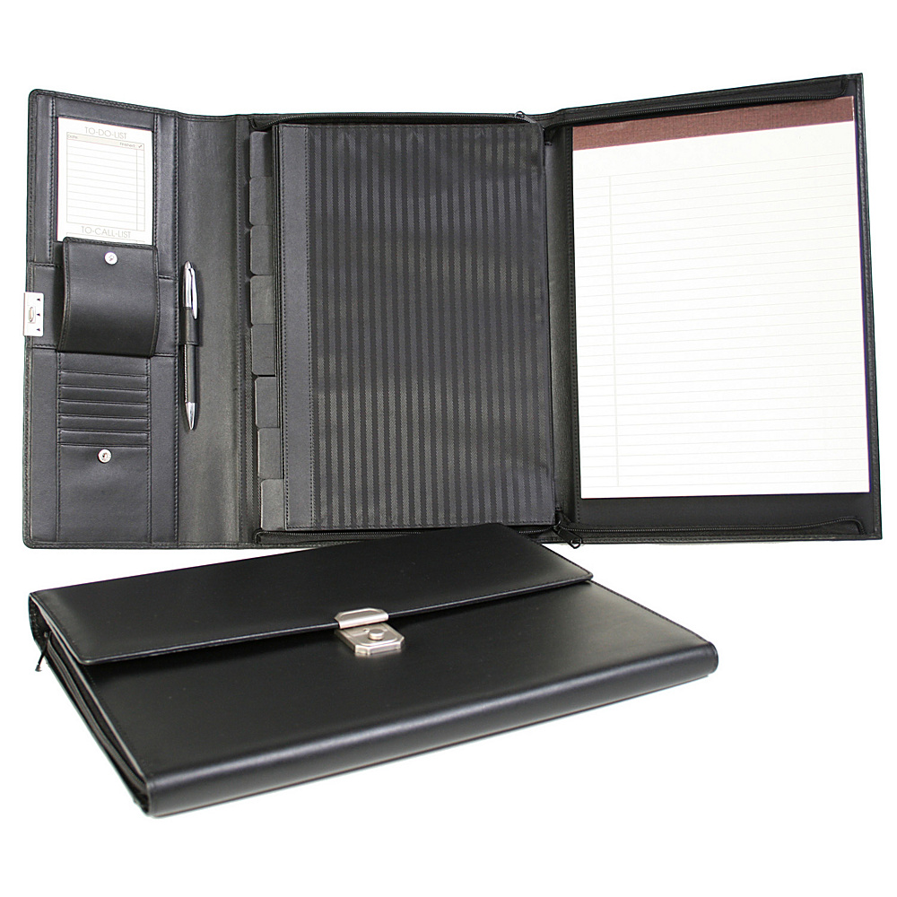 Royce Leather Padfolio File Organizer - Black - Work Bags & Briefcases, Business Accessories