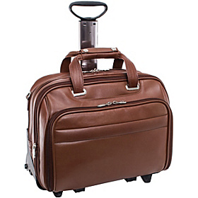 R Series Midway Leather Wheeled Laptop Case Brown