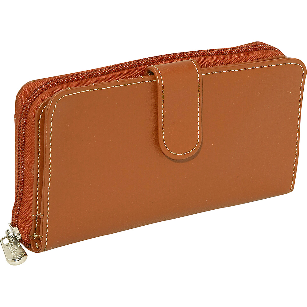 Piel Ladies Multi-Compartment Wallet Saddle - Piel Women's Wallets