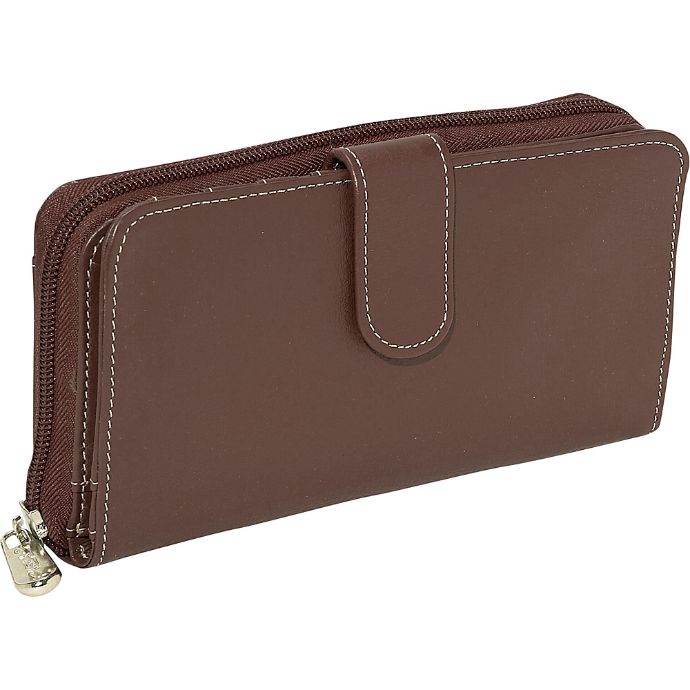 Piel Ladies Multi-Compartment Wallet - Chocolate - Women's SLG, Women's Wallets