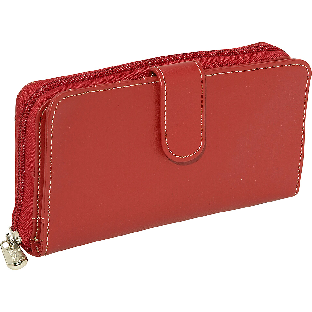 Piel Ladies Multi-Compartment Wallet Red - Piel Women's Wallets