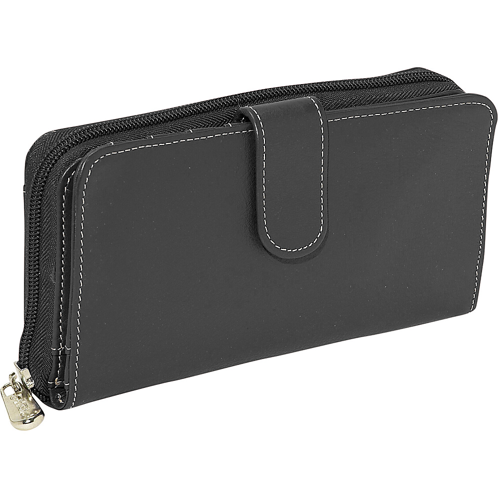 Piel Ladies Multi Compartment Wallet Black