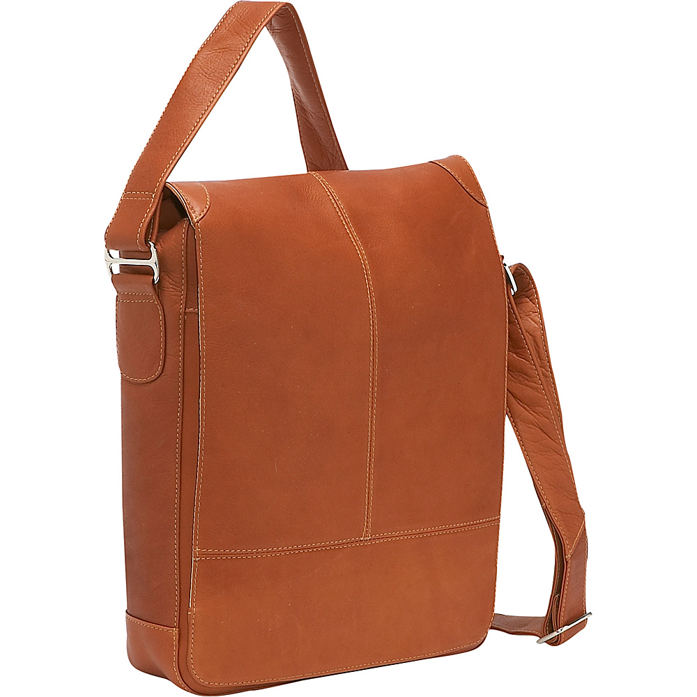 Piel Urban Vertical Laptop Messenger Bag Saddle
