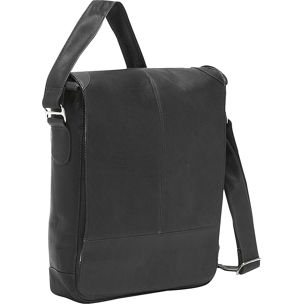 Piel Urban Vertical Laptop Messenger Bag Black