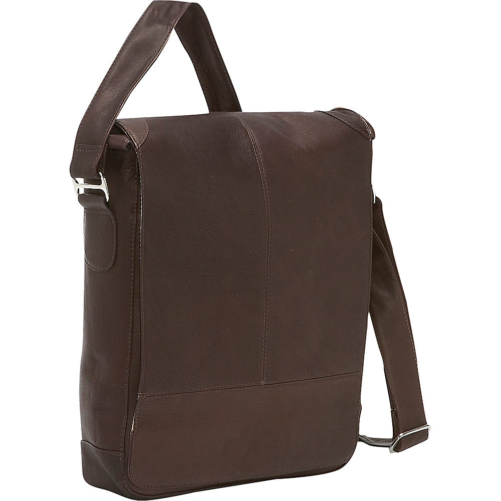 Piel Urban Vertical Laptop Messenger Bag Chocolate