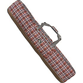 Wheeled Double Coffin-style ski/snowboard bag Mountain Plaid, Espresso