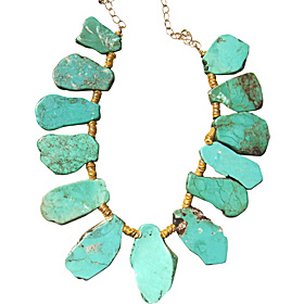 Turquoise Slice Necklace Blue-Green