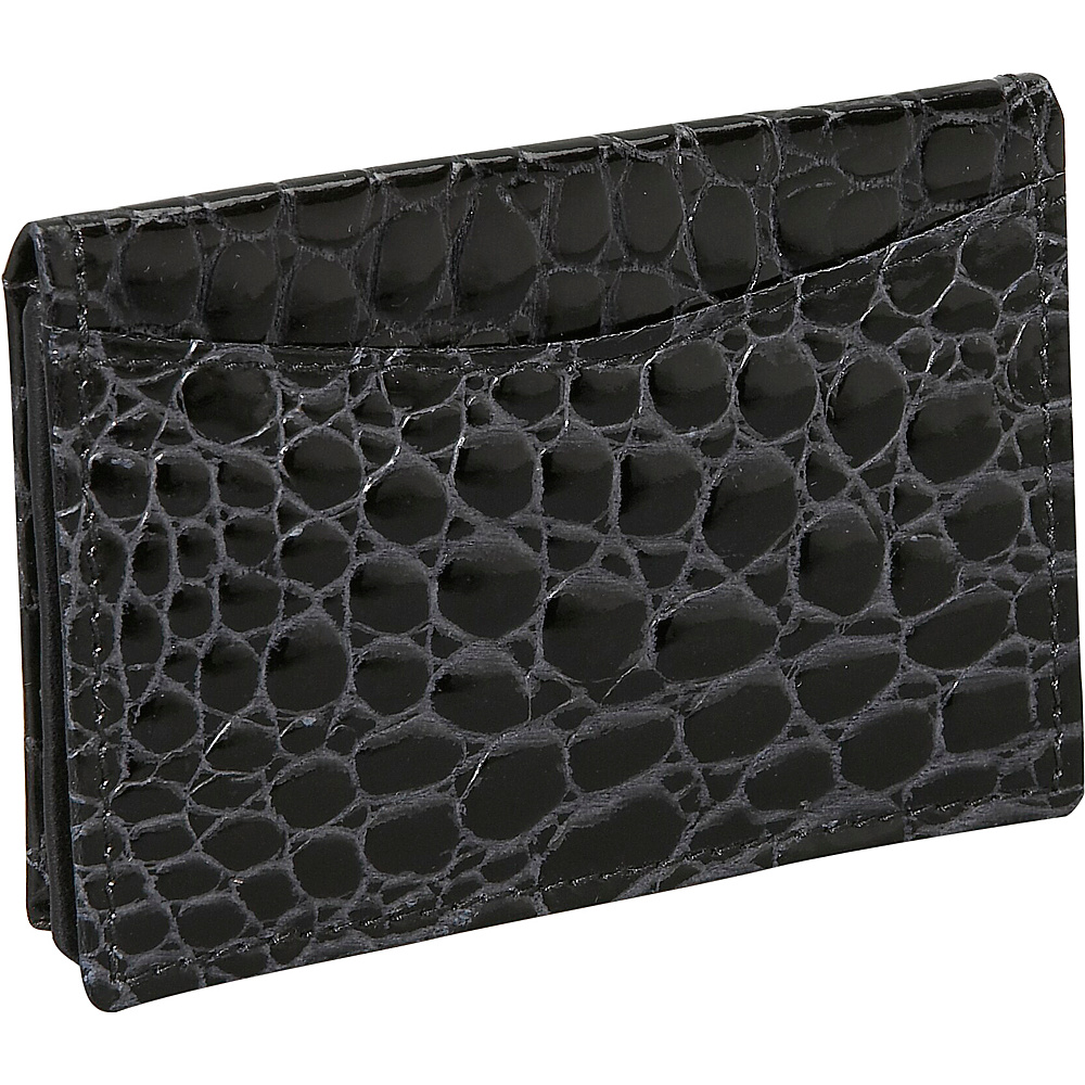 Budd Leather Crocodile Bidente Gusseted Business Card - Work Bags & Briefcases, Business Accessories