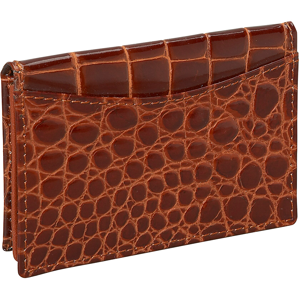Budd Leather Crocodile Bidente Gusseted Business Card Case Cognac - Budd Leather Business Accessories - Work Bags & Briefcases, Business Accessories