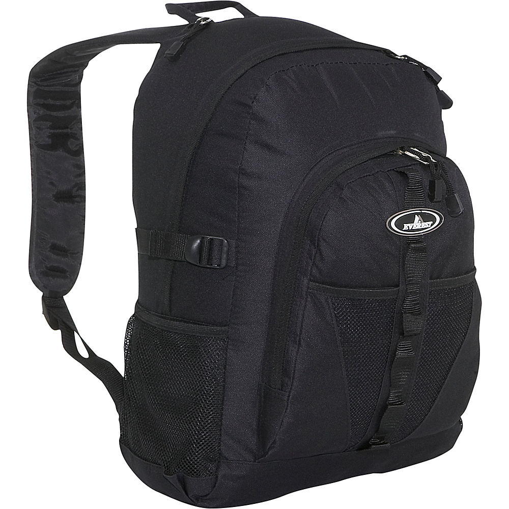 Everest Backpack with Dual Mesh Pocket - Black - Backpacks, Everyday Backpacks