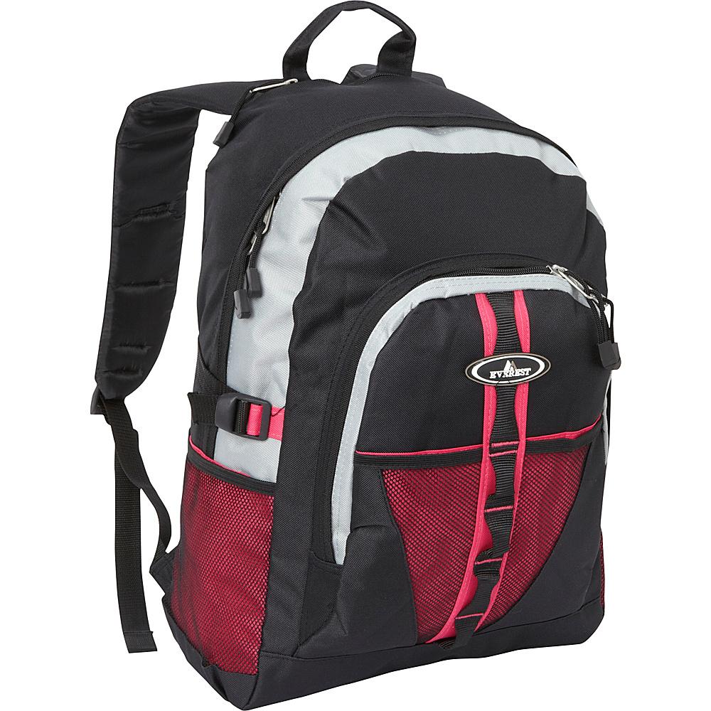 Everest Backpack with Dual Mesh Pocket Hot Pink/Gray/Black - Everest Everyday Backpacks - Backpacks, Everyday Backpacks