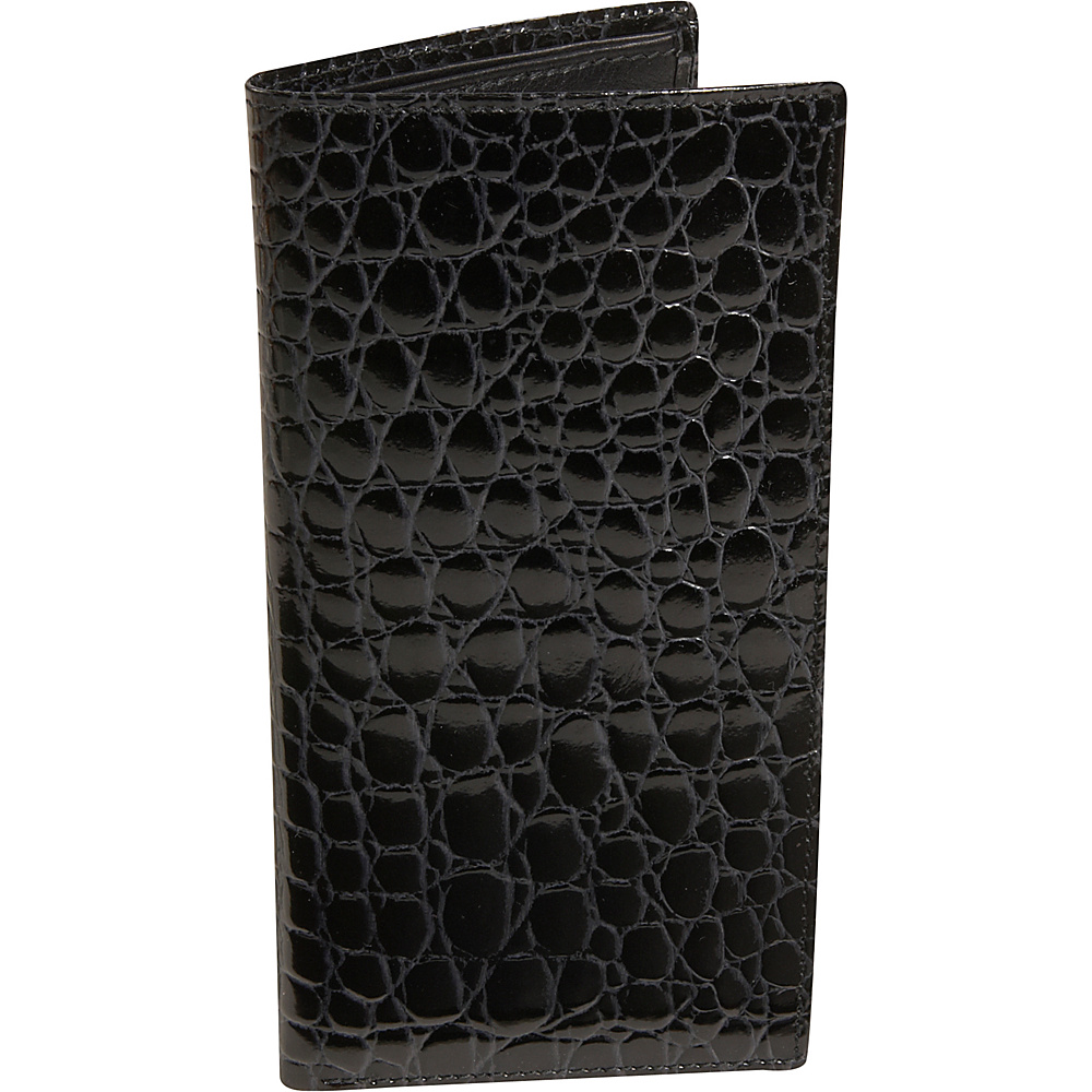 Budd Leather Crocodile Bidente Slim Secretary Black Budd Leather Men s Wallets