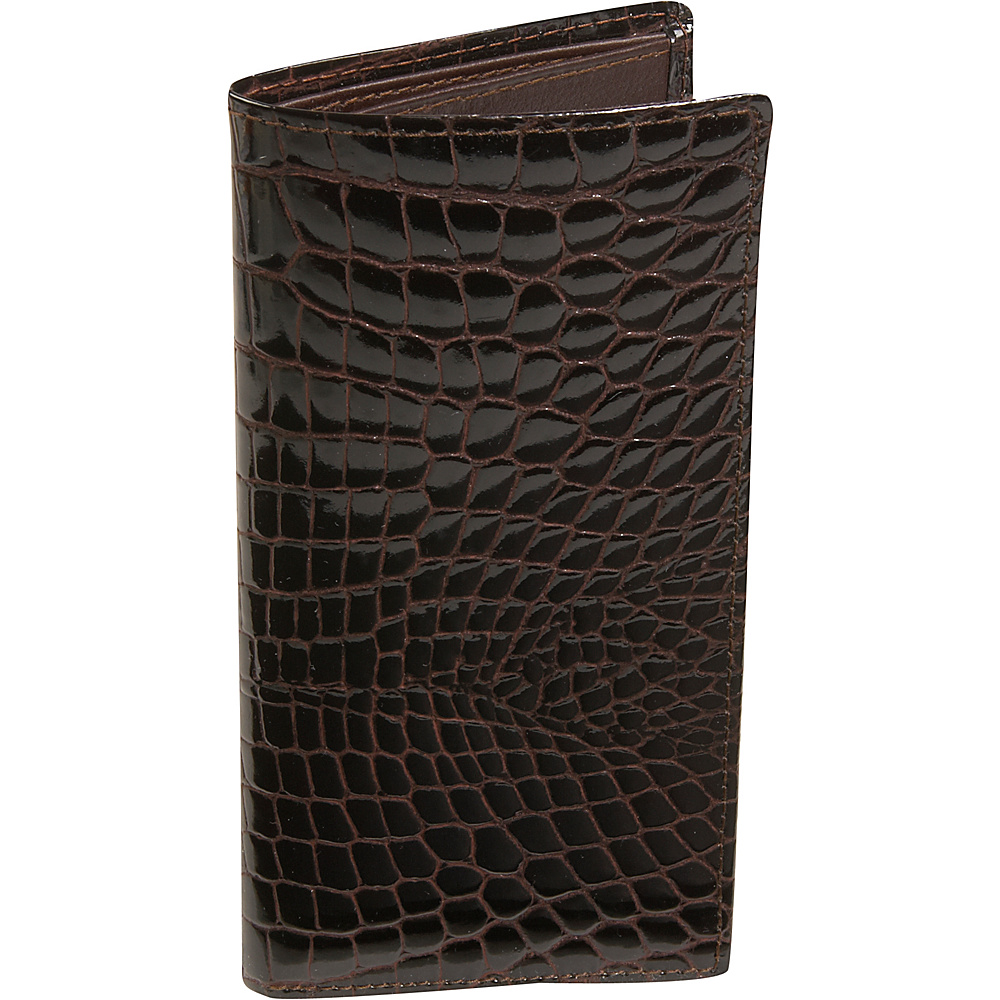 Budd Leather Crocodile Bidente Slim Secretary Brown