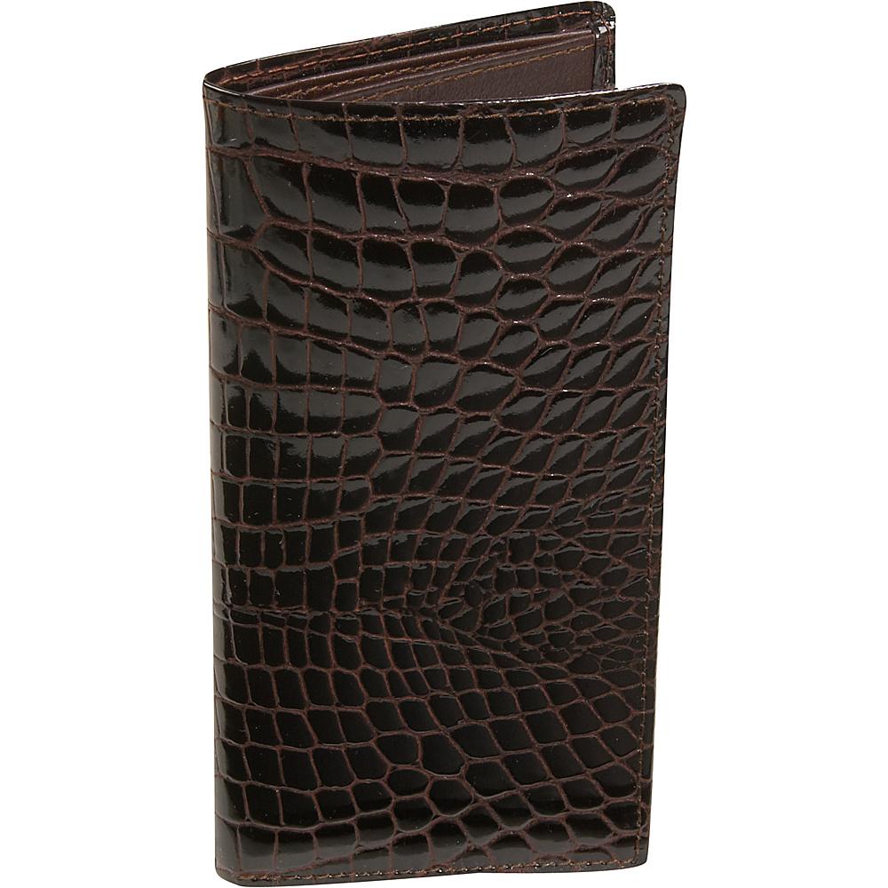 Budd Leather Crocodile Bidente Slim Secretary - Brown - Work Bags & Briefcases, Men's Wallets