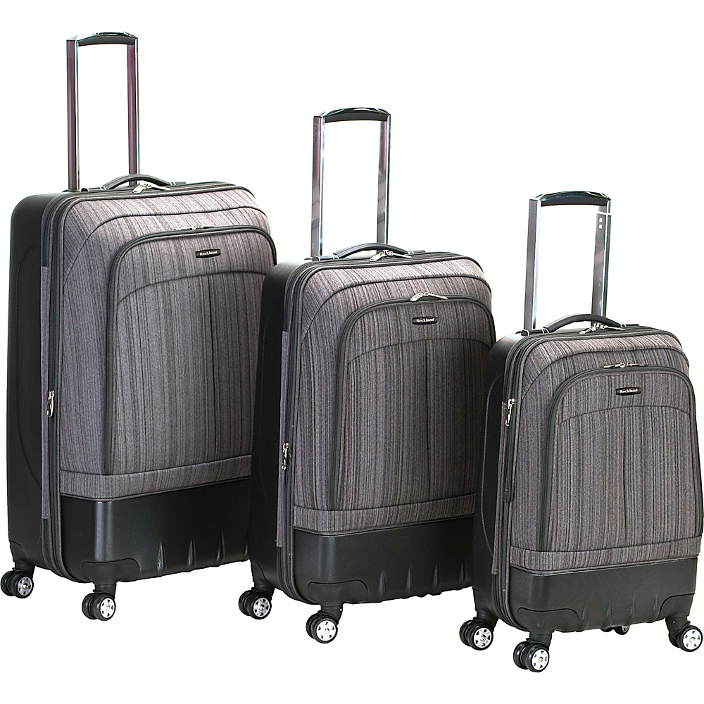 Rockland Luggage 3 Piece Milan Hybrid Luggage Set Brown - Rockland Luggage Luggage Sets
