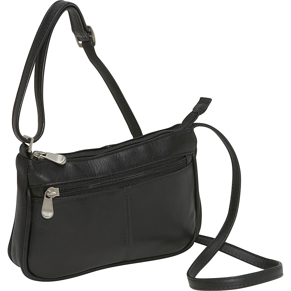 Le Donne Leather Top Zip Mini Cross Body Black - Le Donne Leather Leather Handbags - Handbags, Leather Handbags