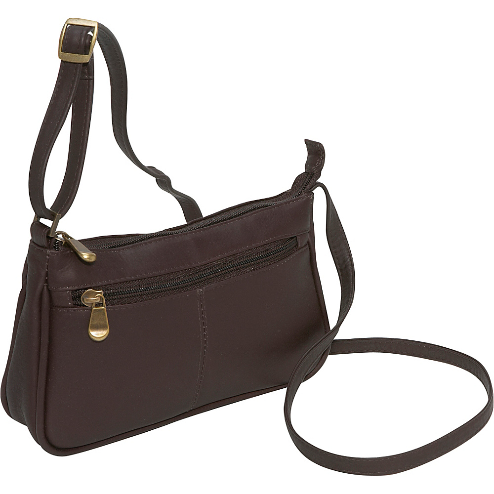 Le Donne Leather Top Zip Mini Cross Body - Caf - Handbags, Leather Handbags