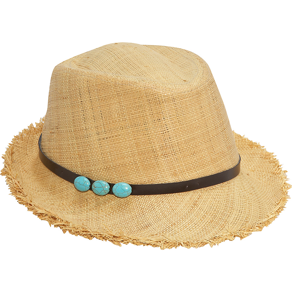 San Diego Hat Raffia Fedora With Beads Natural