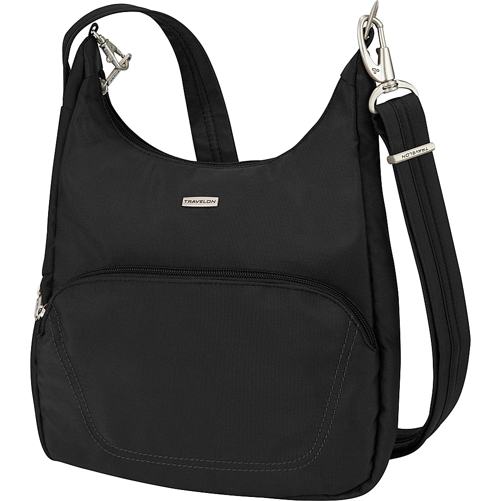 Travelon Anti-Theft Classic Essential Messenger Bag Black - Travelon Fabric Handbags