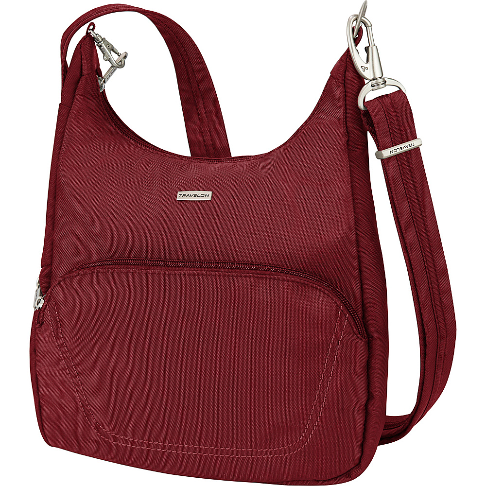 Travelon Anti-Theft Classic Essential Messenger Bag Cranberry - Travelon Fabric Handbags - Handbags, Fabric Handbags