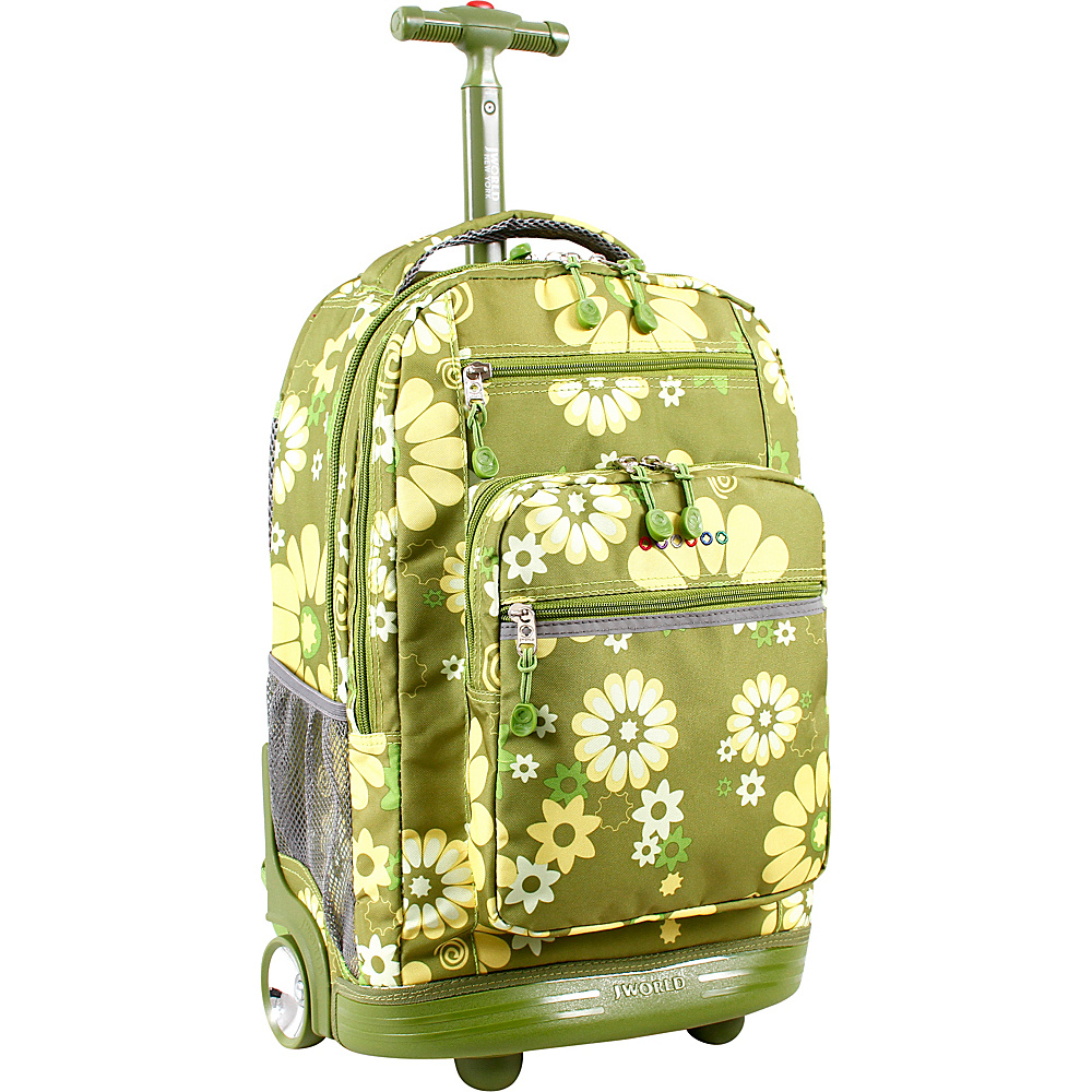 J World New York Sundance Laptop Rolling Backpack Khaki Flower - J World New York Rolling Backpacks