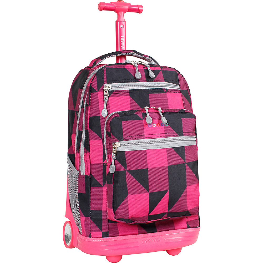 J World Sundance Laptop Rolling Backpack - Block Pink - Backpacks, Rolling Backpacks