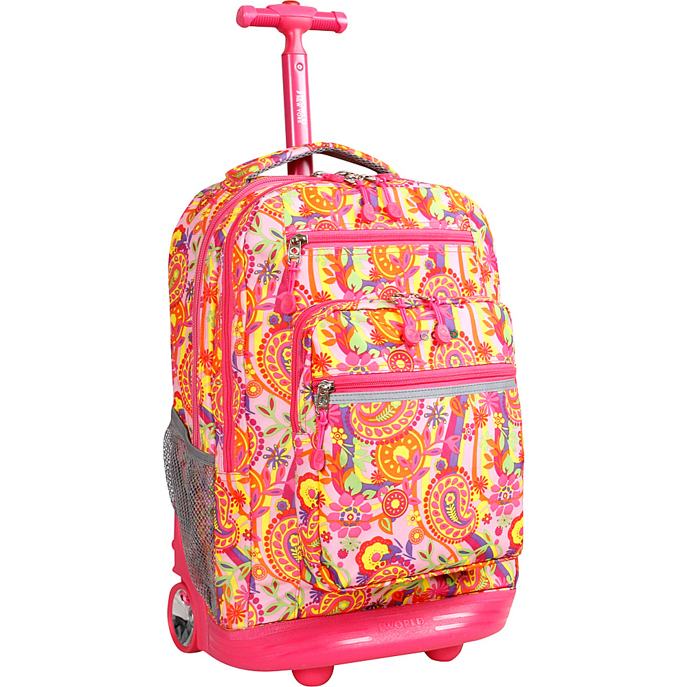 J World New York Sundance Laptop Rolling Backpack Pink Paisley - J World New York Rolling Backpacks - Backpacks, Rolling Backpacks