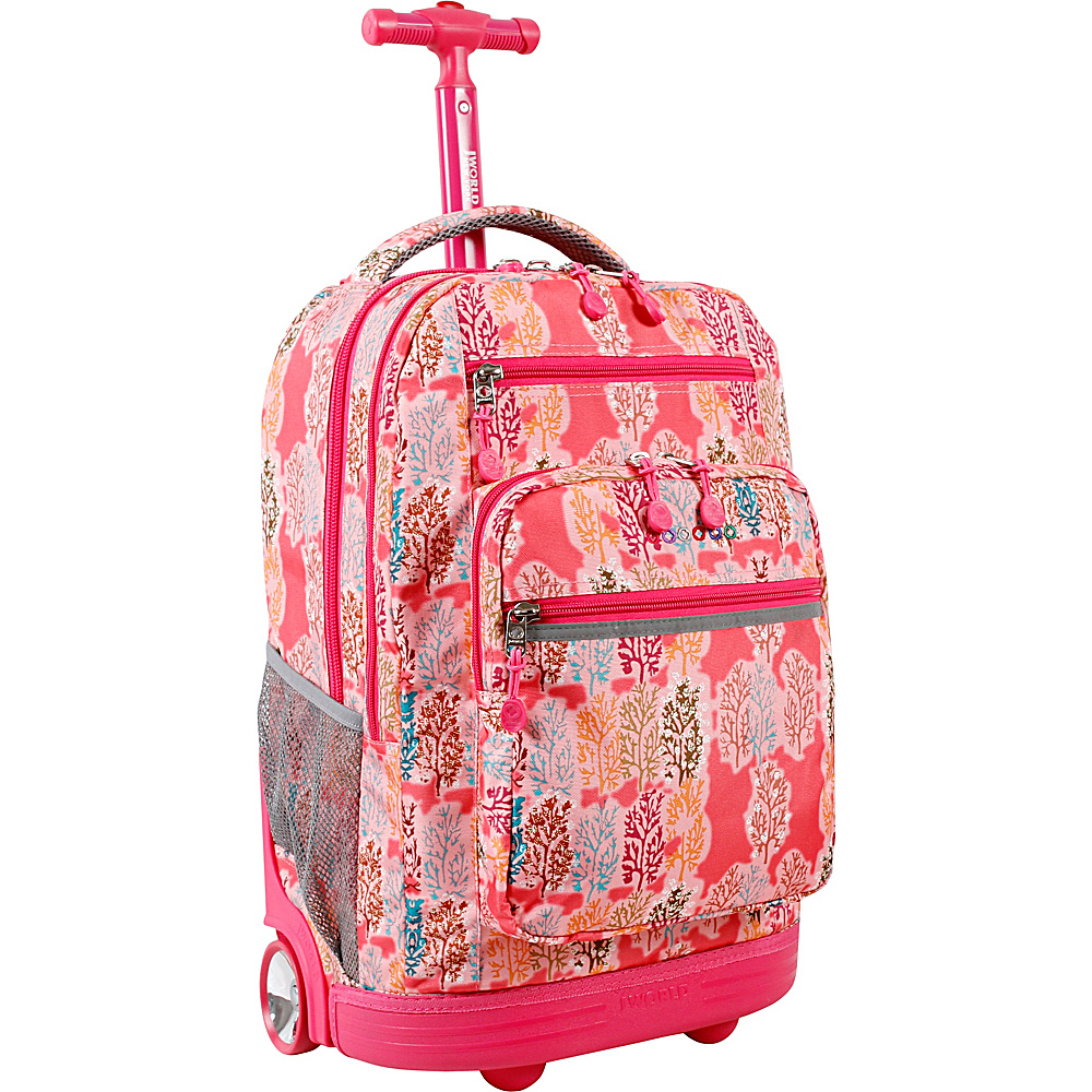 J World New York Sundance Laptop Rolling Backpack Pink Forest - J World New York Rolling Backpacks - Backpacks, Rolling Backpacks