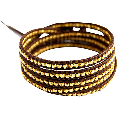 Chan Luu Gold Vermeil Bead Brown Leather Wrap Bracelet Brown - Chan Luu Jewelry