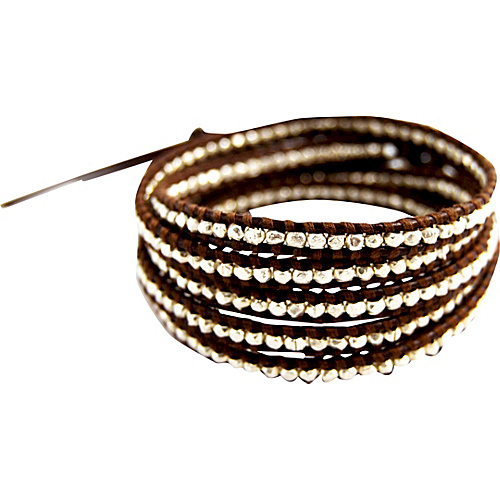 Chan Luu Sterling Silver Bead Brown Leather Wrap Bracelet Brown - Chan Luu Jewelry