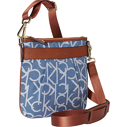 Calvin Klein Hudson Logo Jacquard Crossbody Denim Twill/Luggage Saffiano - Calvin Klein Fabric Handbags