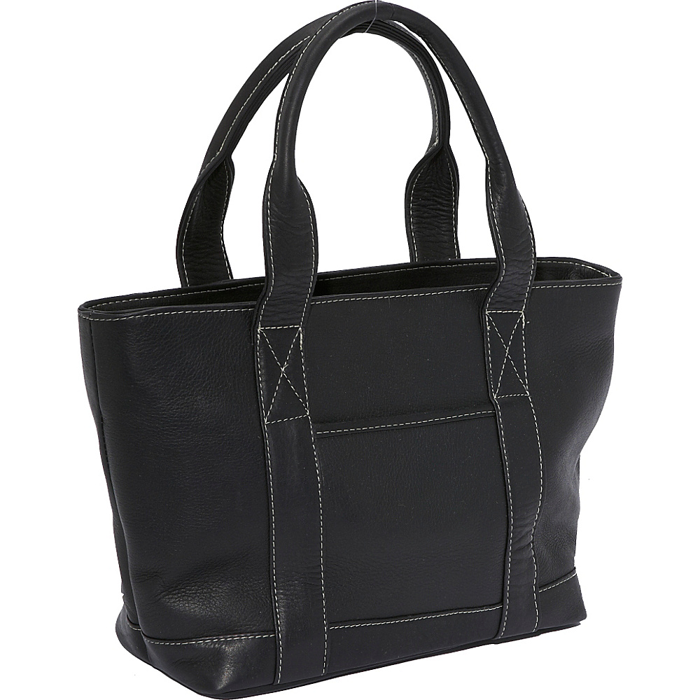 Le Donne Leather Double Strap Small Pocket Tote - Black - Handbags, Leather Handbags