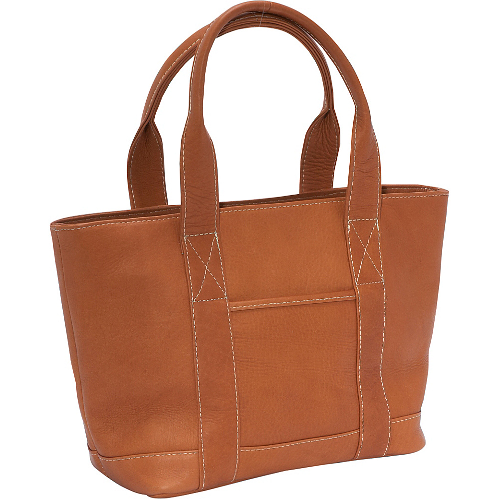 Le Donne Leather Double Strap Small Pocket Tote - Tan - Handbags, Leather Handbags