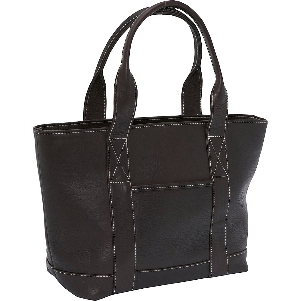 Le Donne Leather Double Strap Small Pocket Tote - Caf - Handbags, Leather Handbags