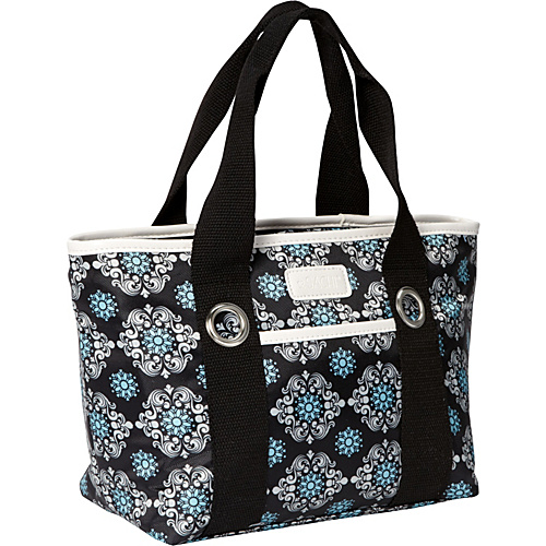 Sachi Insulated Lunch Bags Style 11 Ladies'' Lunch Tote Black Blue Medallion - Sachi Insulated Lunch Bags Travel Coolers