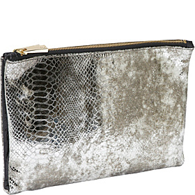 Lizzie Reversible Snake/Leather Soft Clutch Soft Gold