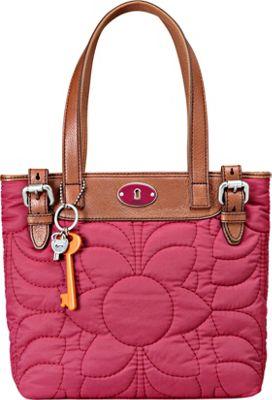 Fossil Key Per Nylon Shopper Raspberry Fossil Fabric Handbags