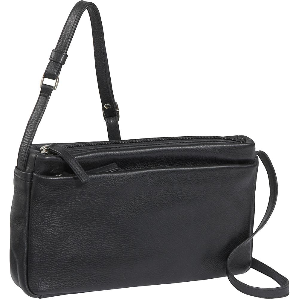 Derek Alexander EW 3 Top Zip Shoulder Bag - Black - Handbags, Leather Handbags