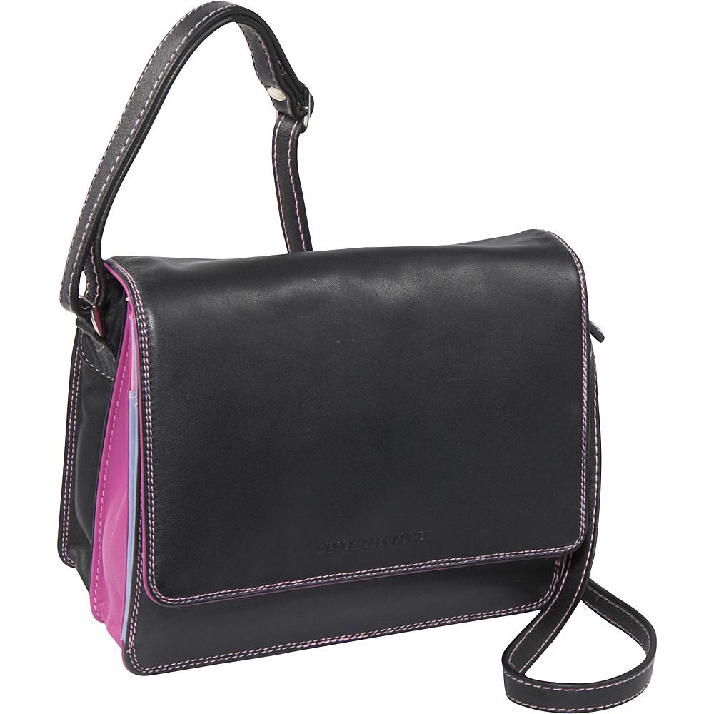 Derek Alexander Half Flap Organizer - Black/Pastel - Handbags, Leather Handbags
