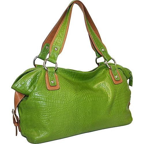 Nino Bossi Top Zip Satchel Bag Apple Green - Nino Bossi Leather Handbags